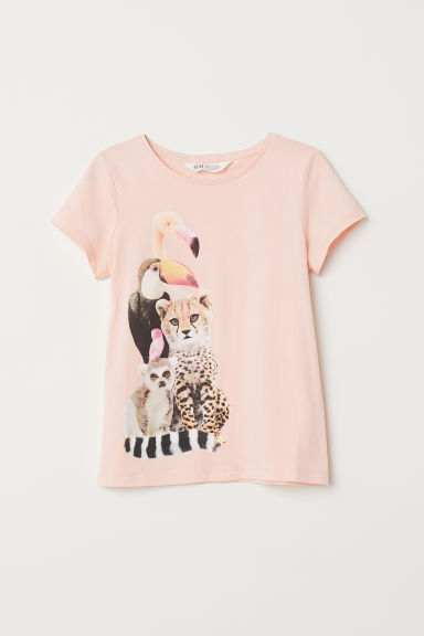 Printed jersey top - Light coral/Animals -  | H&M CN