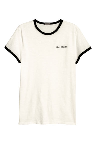 T-shirt met borduursel - Wit/zwart - HEREN | H&M BE