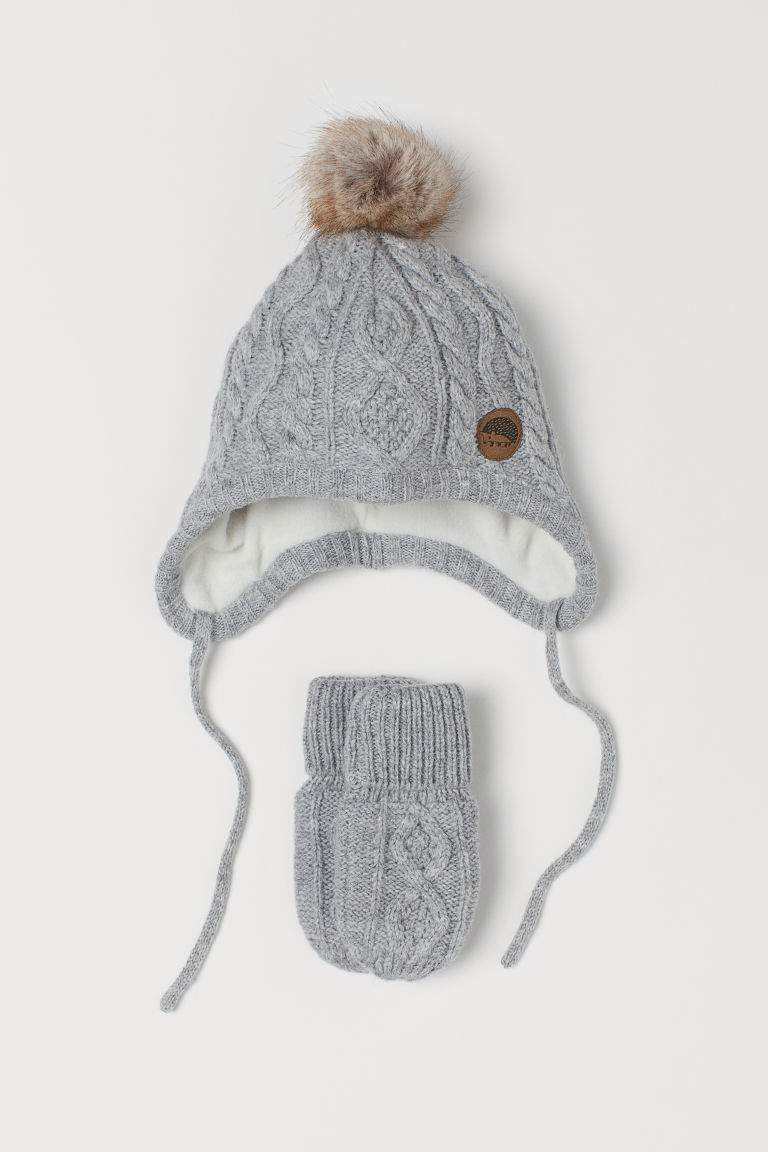 Hat and mittens - Light grey marl - Kids | H&M GB