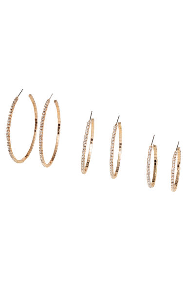 3-pack hoop earrings - Gold-coloured - Ladies | H&M 1