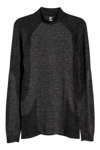 Seamless base layer top - Dark grey marl - Men | H&M