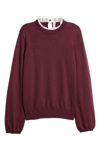 Fine-knit jumper with lace - Burgundy -  | H&M