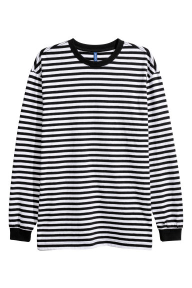Oversized jersey top - White/Black striped -  | H&M
