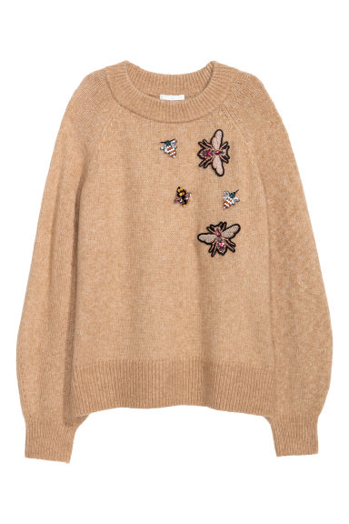 Jumper with beaded appliqués - Beige marl/Insects - Ladies | H&M GB