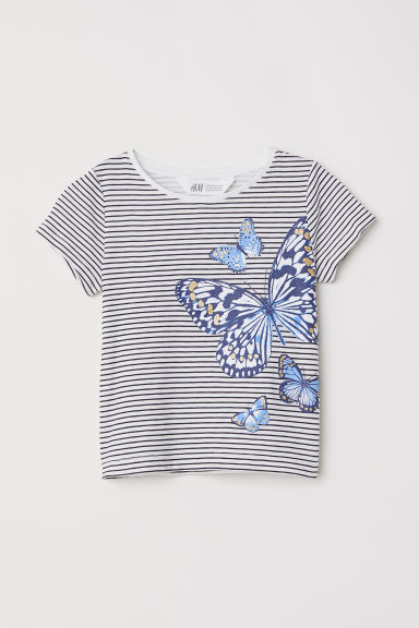 Top in jersey con stampa - Bianco righe/farfalle -  | H&M IT