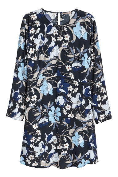 H&M+ Crêpe dress - Dark blue/Floral - Ladies | H&M