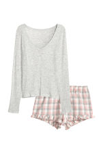 Pyjama top and shorts - Light grey/Pink - Ladies | H&M 1