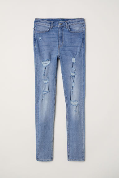 Super Skinny High Jeans - Blu denim/Trashed - DONNA | H&M IT
