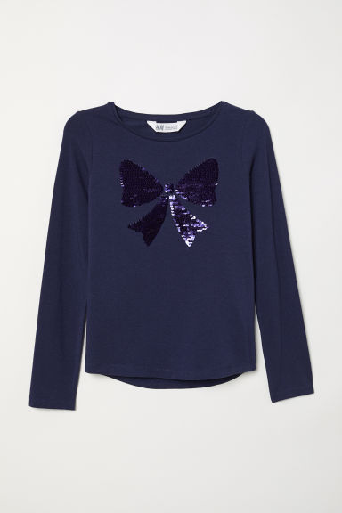 Jersey top with sequined motif - Dark blue/Bow - Kids | H&M CN