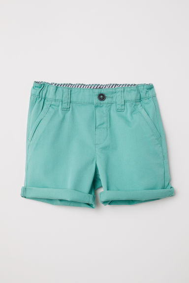 Cotton twill shorts - Mint green - Kids | H&M CN