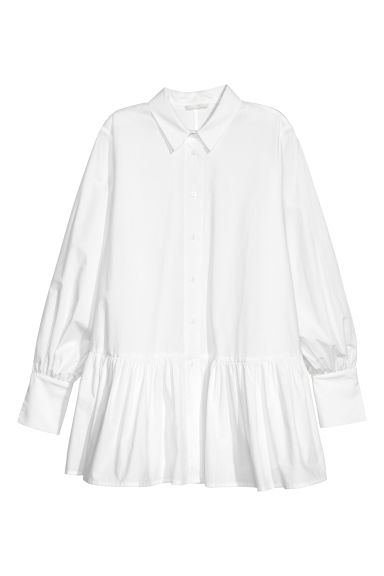 Blouse with a flounced hem - White - Ladies | H&M
