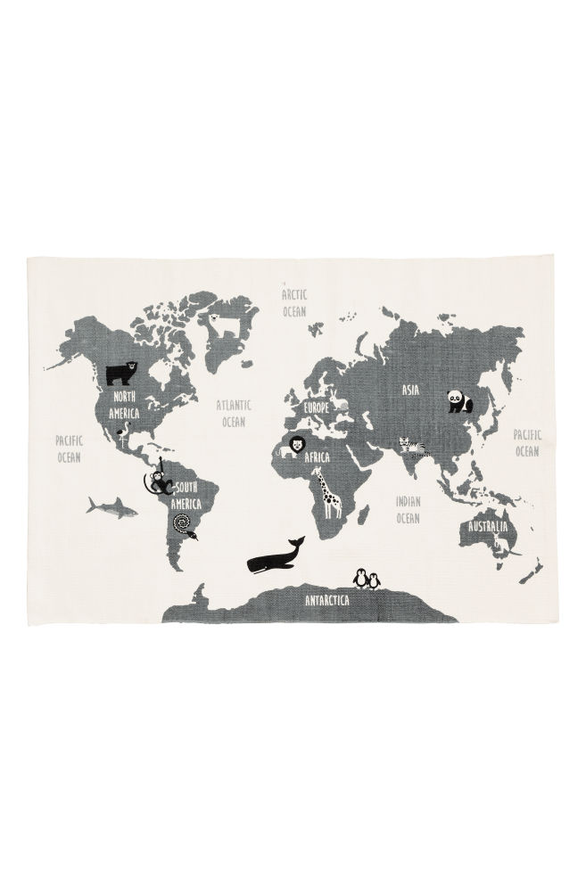 World map motif cotton rug whiteanimal hm ca world map motif cotton rug whiteanimal hm gumiabroncs Gallery