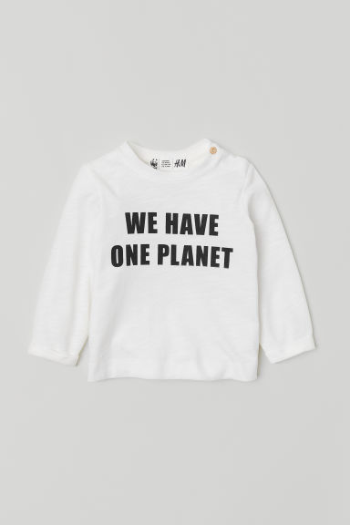 Text-print top - White/One Planet - Kids | H&M CN