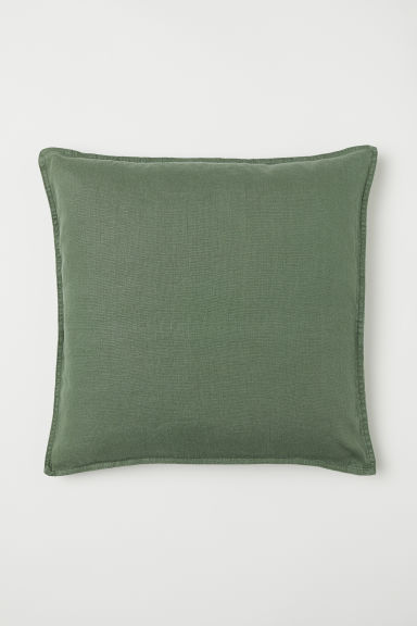 Washed linen cushion cover - Moss green - Home All | H&M CN