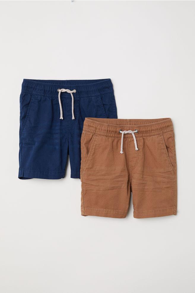 Shorts en twill, lot de 2 - Bleu foncé/marron - ENFANT | H&M FR