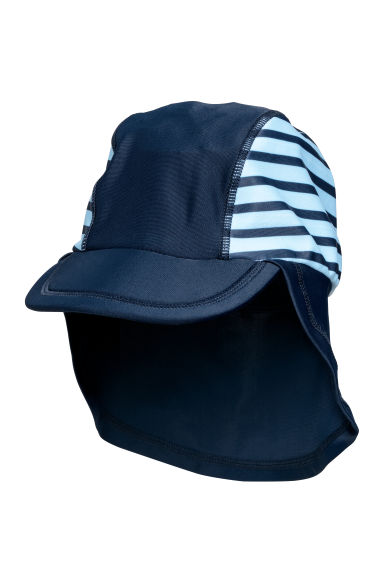 Sun cap with UPF 50 - Dark blue/Striped - Kids | H&M CN