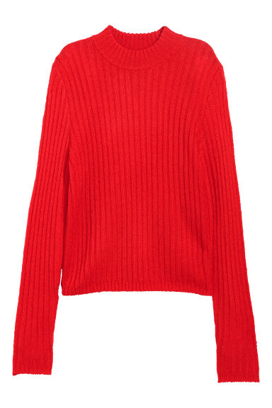 Ribbed jumper - Bright red - Ladies | H&M IE