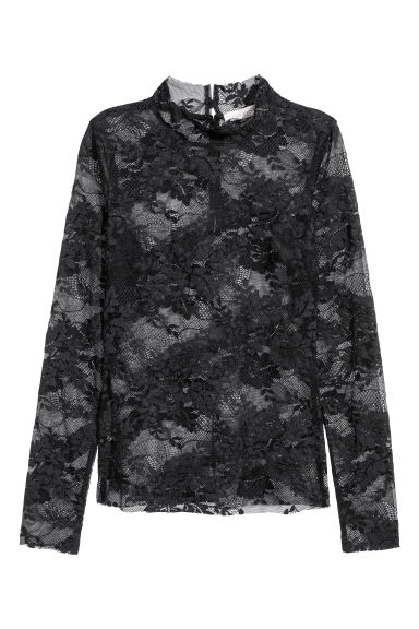 Lace top - Black -  | H&M IE