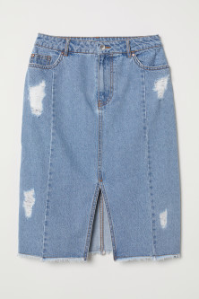 Knee-length denim skirt