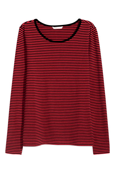 Long-sleeved jersey top - Red/Striped - Ladies | H&M CN