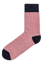Fine-knit socks - Dark blue/Striped - Men | H&M 1