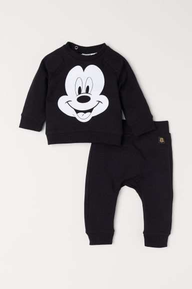 Sweatshirt and trousers - Black/Mickey Mouse - Kids | H&M CN