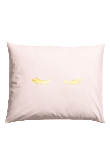 Pillowcase with a print motif - Powder pink/Eyelashes -  | H&M GB