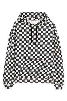 Sweat-shirt damier à capuche