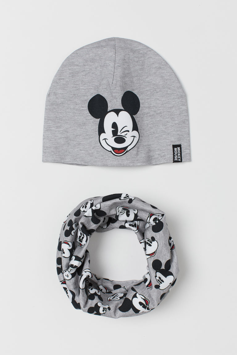 Hat and tube scarf - Grey marl/Mickey Mouse - Kids | H&M GB