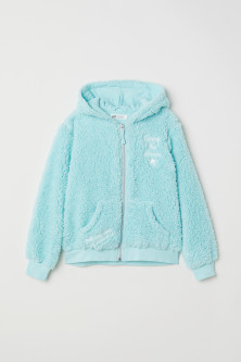 Pile hooded jacket