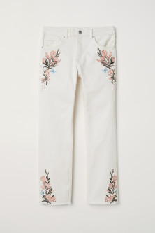 Embroidered stretch trousers