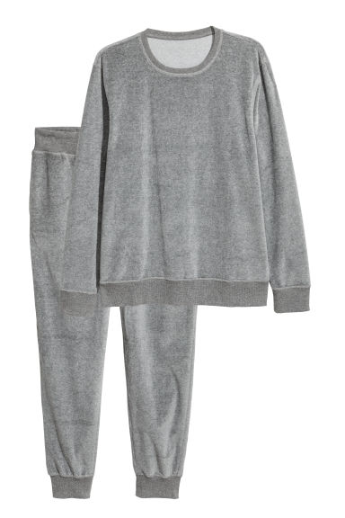 Velour pyjamas - Grey marl - Men | H&M CN