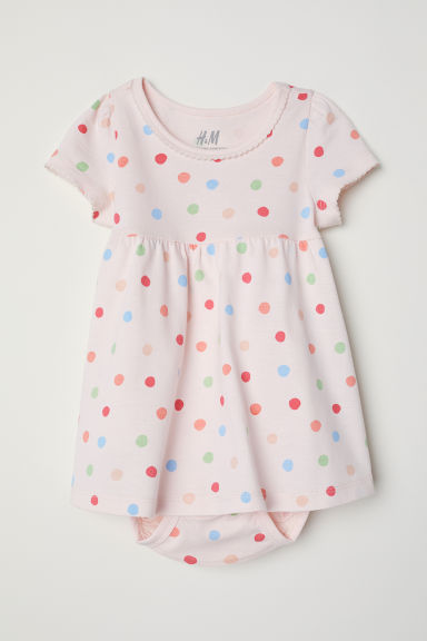 Jersey dress with bodysuit - Light pink/Spotted - Kids | H&M CN