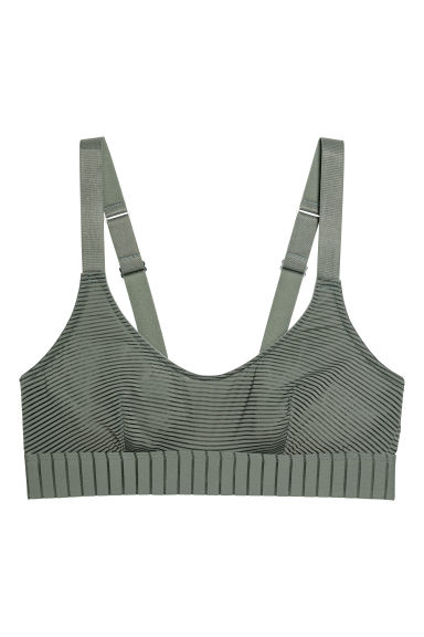 Microfibre bra top - Khaki green - Ladies | H&M IE
