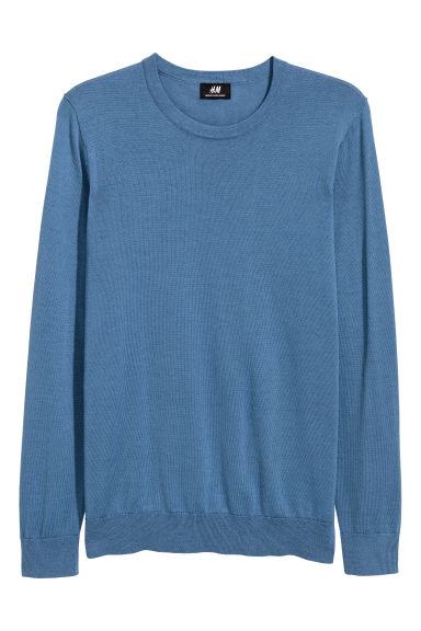 Merino wool-blend jumper - Light blue - Men | H&M CN