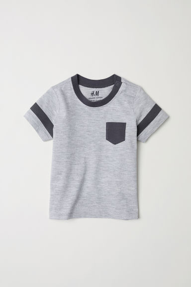 Cotton T-shirt - Light grey marl - Kids | H&M CN