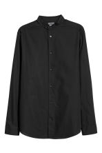 Collarless shirt Regular fit - Black - Men | H&M IE 1