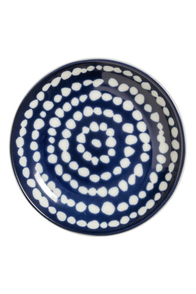 Round porcelain soap dish - Navy blue/White spotted -  | H&M CN
