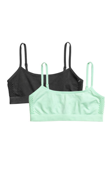 2-pack jersey crop tops - Light green -  | H&M CN
