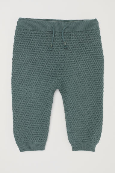 Textured-knit trousers - Dusky green - Kids | H&M CN