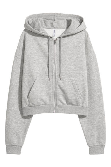 Short hooded jacket - Light grey marl -  | H&M GB