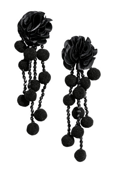 Pompom earrings - Black - Ladies | H&M IE