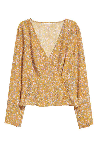 Patterned wrapover blouse - Dark yellow/Floral - Ladies | H&M IE