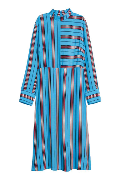 Calf-length dress - Light blue/Striped - Ladies | H&M