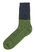 Wool-blend socks - Dark blue/Green marl - Men | H&M 1