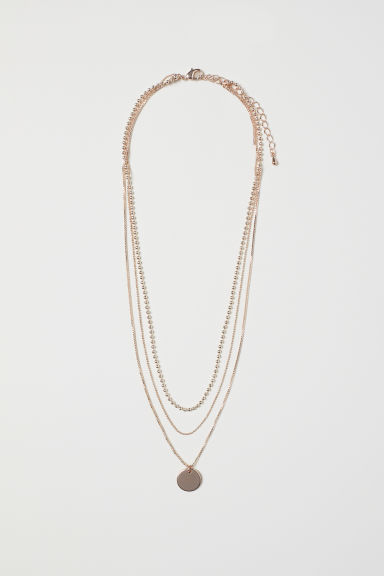Three-strand necklace - Rose gold-coloured - Ladies | H&M GB