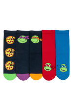 5-pack anti-slip socks - Blue/Turtles - Kids | H&M CN 1