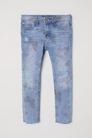Skinny Fit Jeans - Denim blue/Butterflies -  | H&M CN