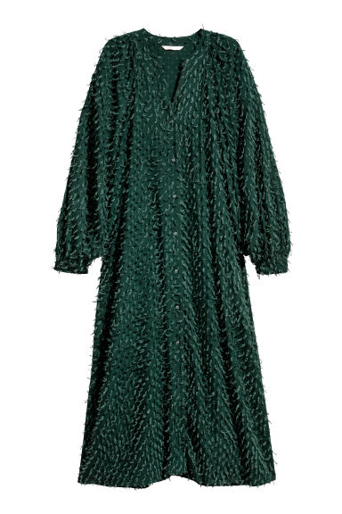 Textured dress - Dark green - Ladies | H&M CN
