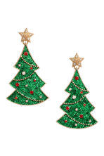 Christmas earrings - Gold-coloured/Christmas tree - Ladies | H&M IE 1